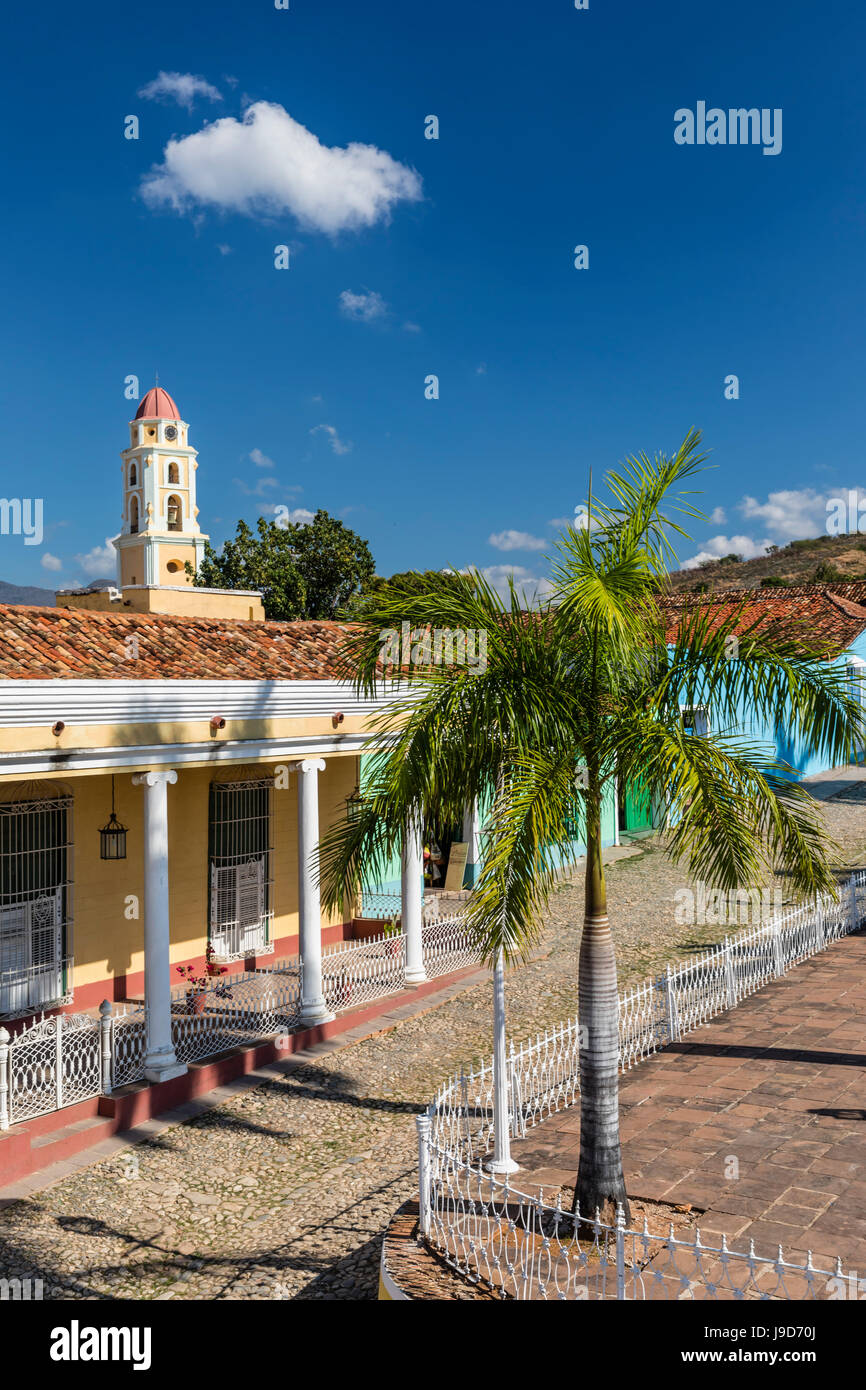 The Convento de San Francisco and Plaza Mayor, Trinidad, UNESCO World Heritage Site, Cuba, West Indies, Caribbean - Stock Image