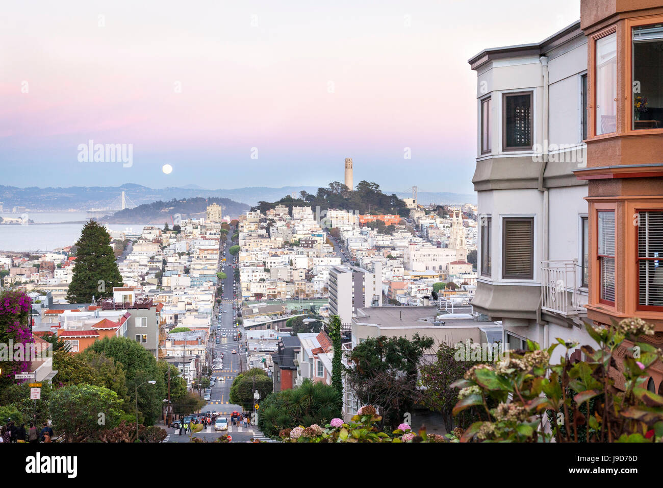 Super moon and view to Bay Area, including San Francisco-Oakland Bay Bridge, San Francisco, California, USA - Stock Image