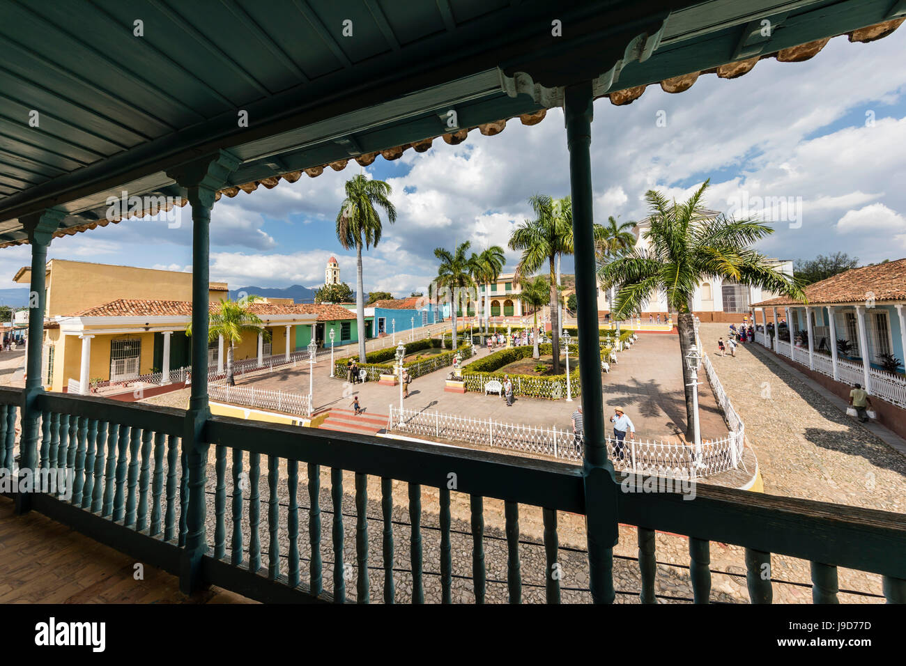 A view of the Plaza Mayor, Trinidad, UNESCO World Heritage Site, Cuba, West Indies, Caribbean, Central America - Stock Image