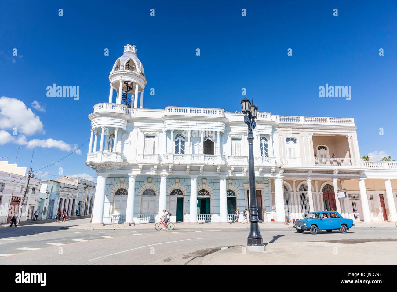 Casa de Cultura in the Palacio Ferrer from Plaza Jose Marti, Cienfuegos, UNESCO, Cuba, West Indies, Caribbean - Stock Image