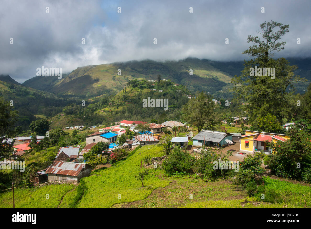 Overlook over the mountain town of Maubisse, East Timor, Southeast Asia, Asia - Stock Image