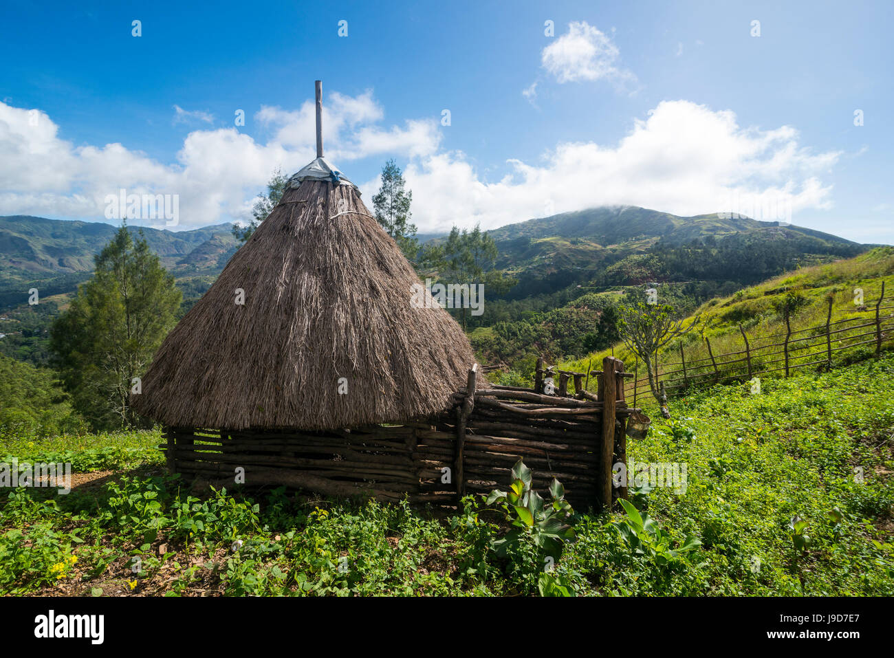 Traditional house in the mountains, Maubisse, East Timor, Southeast Asia, Asia - Stock Image