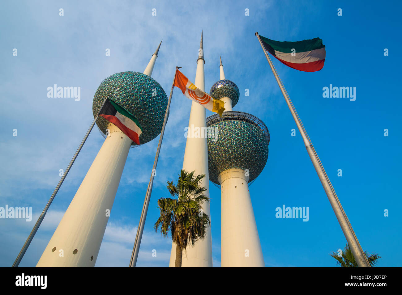 Landmark Kuwait towers in Kuwait City, Kuwait, Middle East - Stock Image