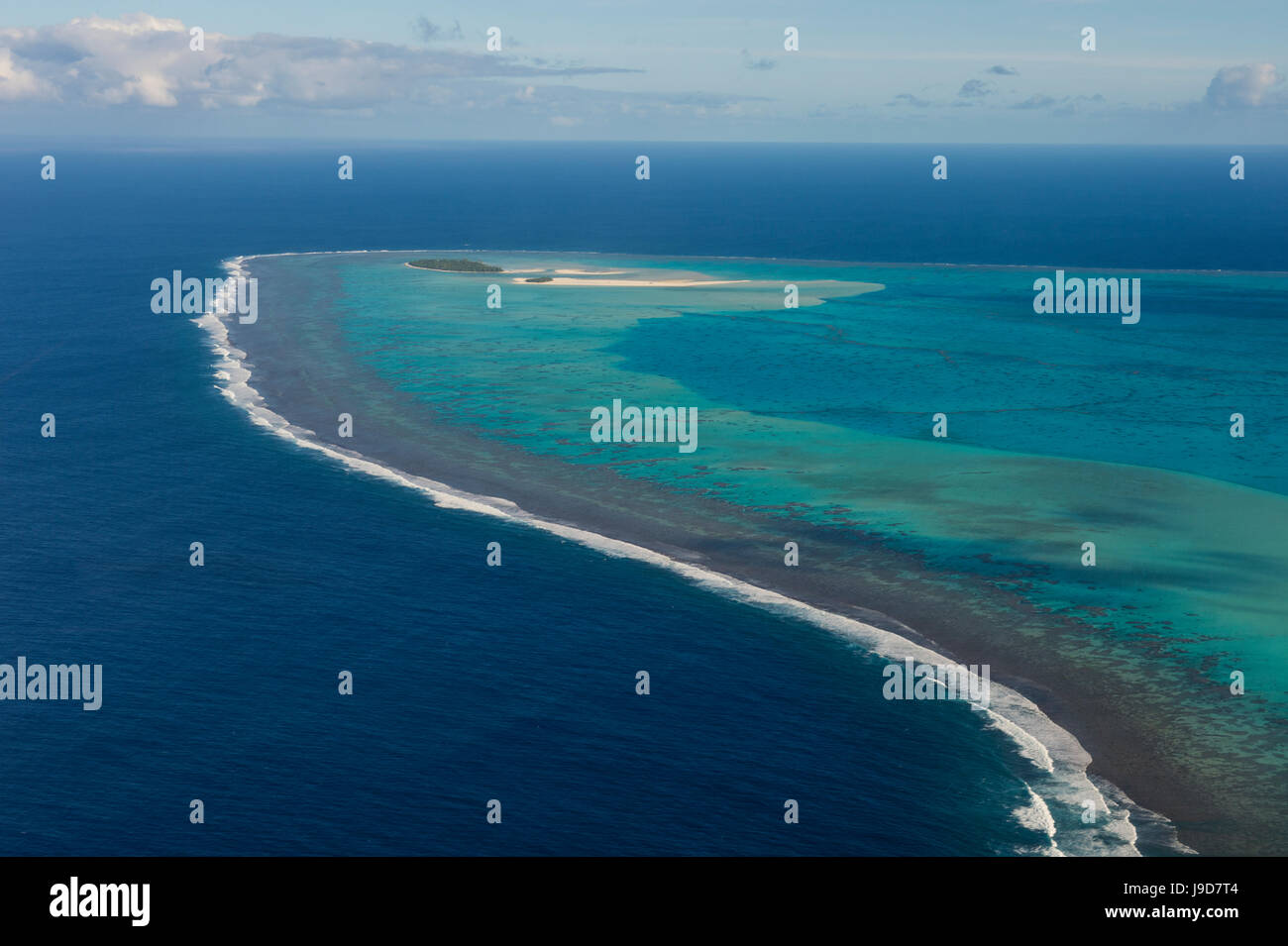 Aerial of Aitutaki lagoon, Rarotonga and the Cook Islands, South Pacific, Pacific - Stock Image