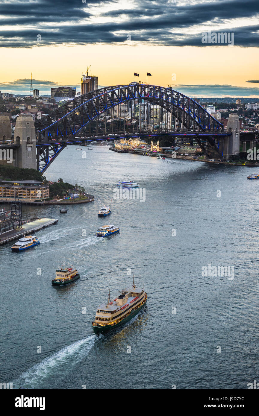 View over Sydney harbour after sunset, Sydney, New South Wales, Australia, Pacific - Stock Image