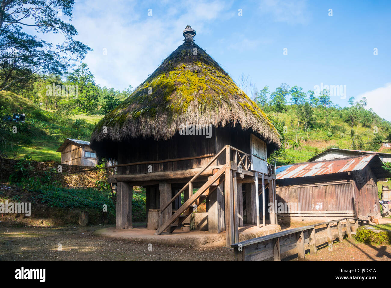 Traditional house in the mountains of Aileu, East Timor, Southeast Asia, Asia - Stock Image