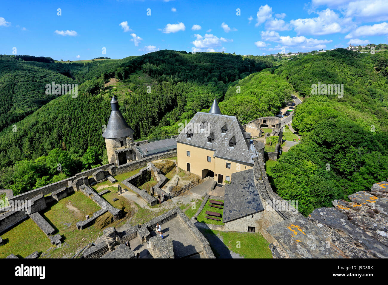 Bourscheid Castle in the Valley of Sauer River, Canton of Diekirch, Grand Duchy of Luxembourg, Europe - Stock Image