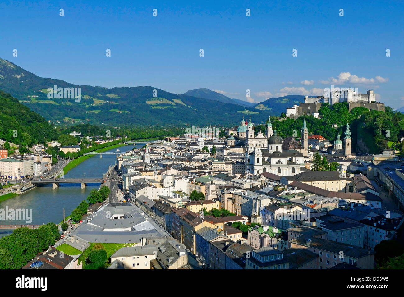 View from Moenchsberg Hill across Salzach River with Cathedral, Collegiate Church and Fortress Hohensalzburg, Salzburg, - Stock Image