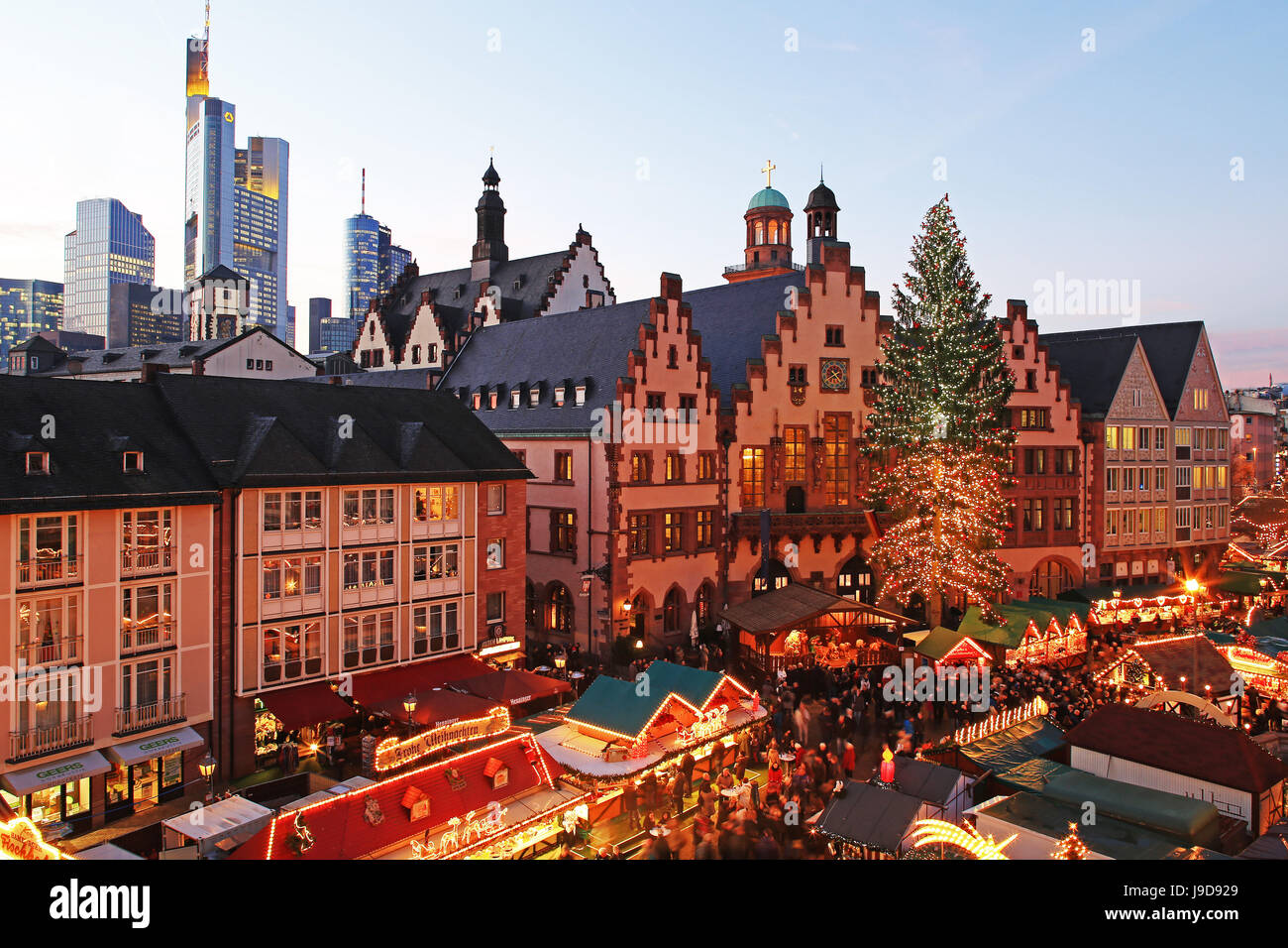 Christmas Fair on Roemerberg Square, Frankfurt am Main, Hesse, Germany, Europe Stock Photo
