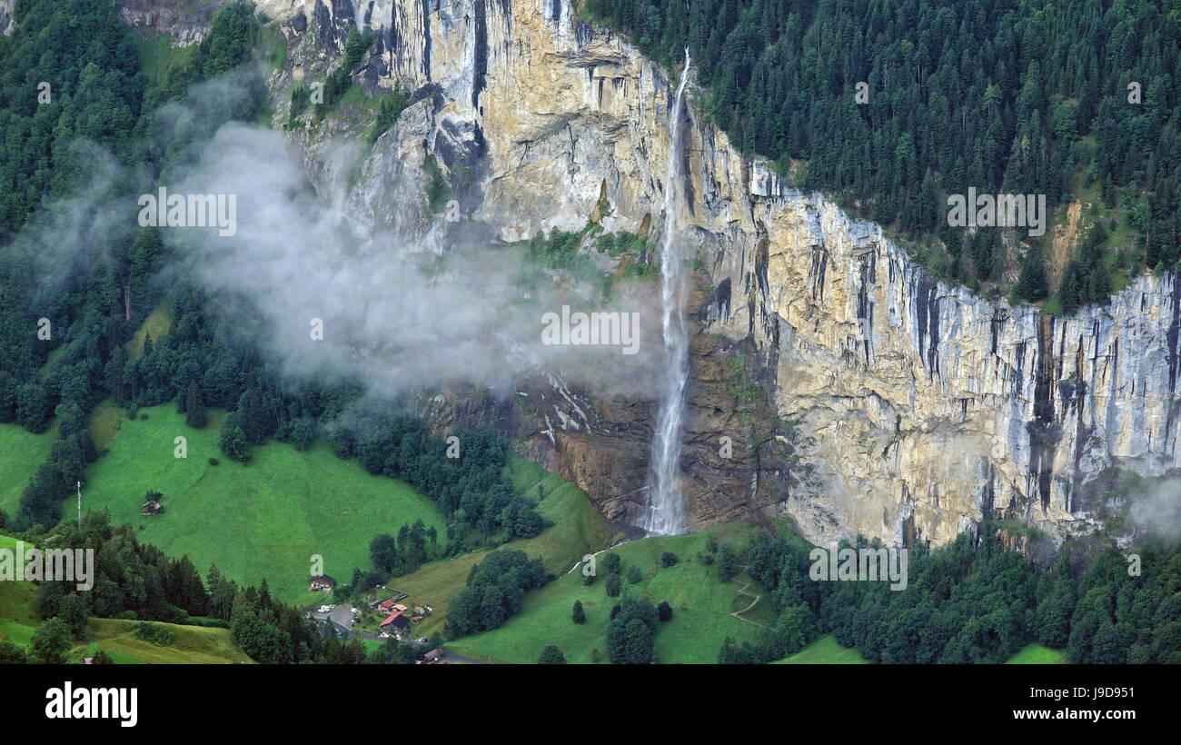 Staubbach Waterfall, Lauterbrunnen, Bernese Oberland, Switzerland, Europe - Stock Image