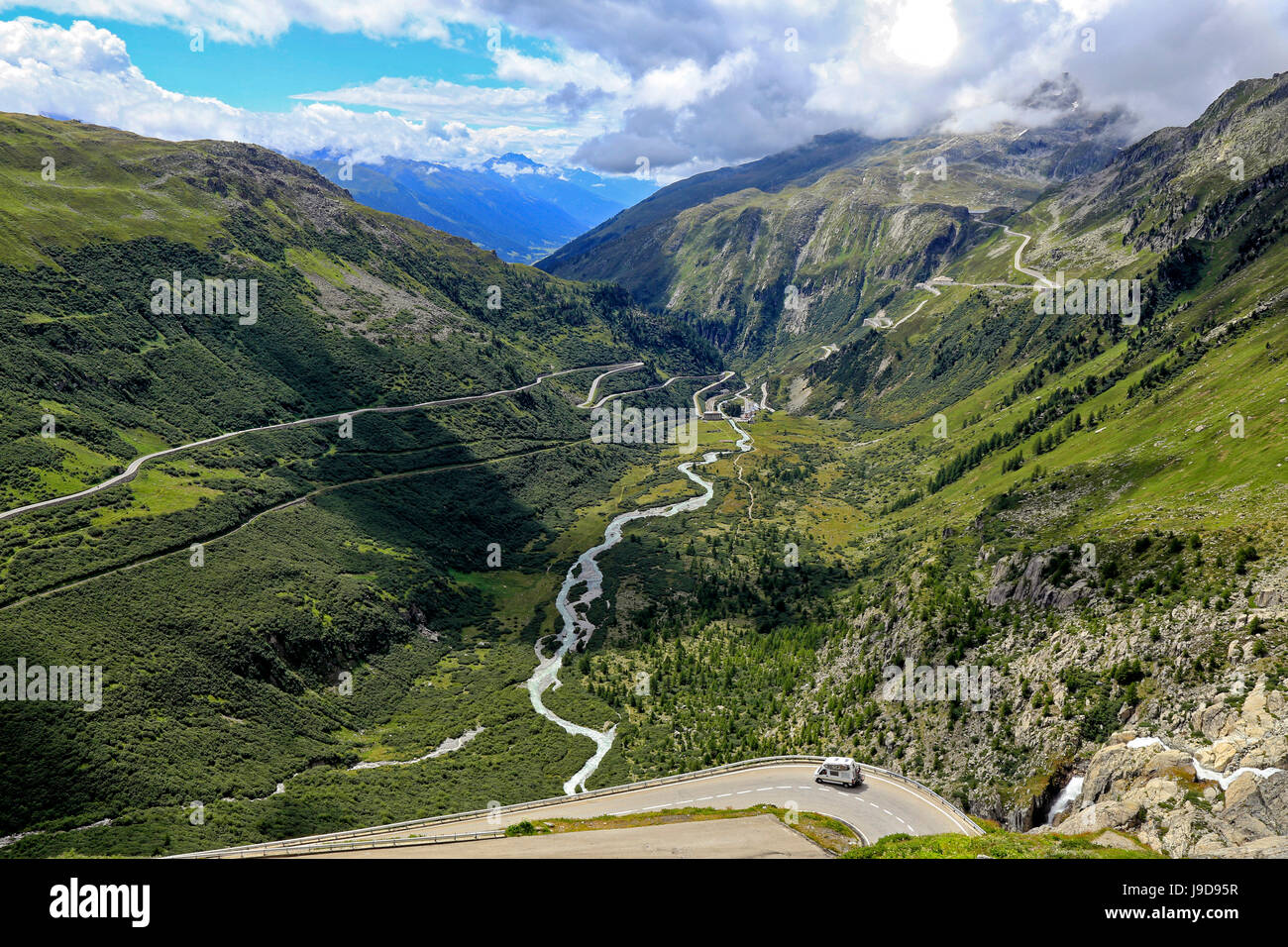 Gletsch with Rhone River, Grimsel and Furka Pass Roads, Canton of Valais, Switzerland, Europe Stock Photo