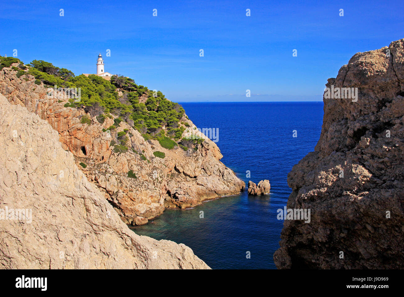 Lighthouse at Cap de Pera near Cala Ratjada, Majorca, Balearic Islands, Spain, Mediterranean, Europe - Stock Image