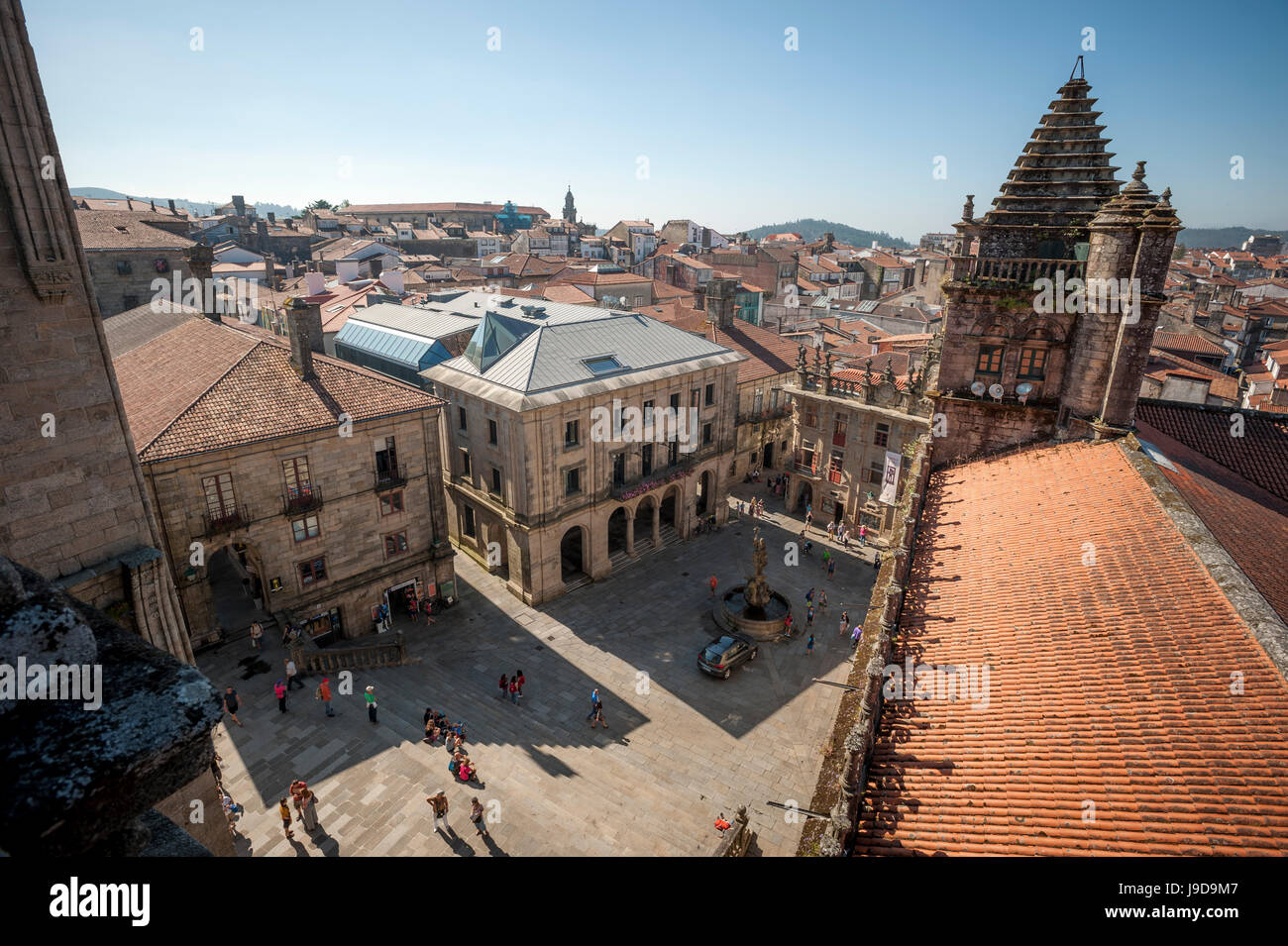 View from the roof of the Cathedral of Santiago de Compostela, UNESCO, Santiago de Compostela, A Coruna, Galicia, - Stock Image
