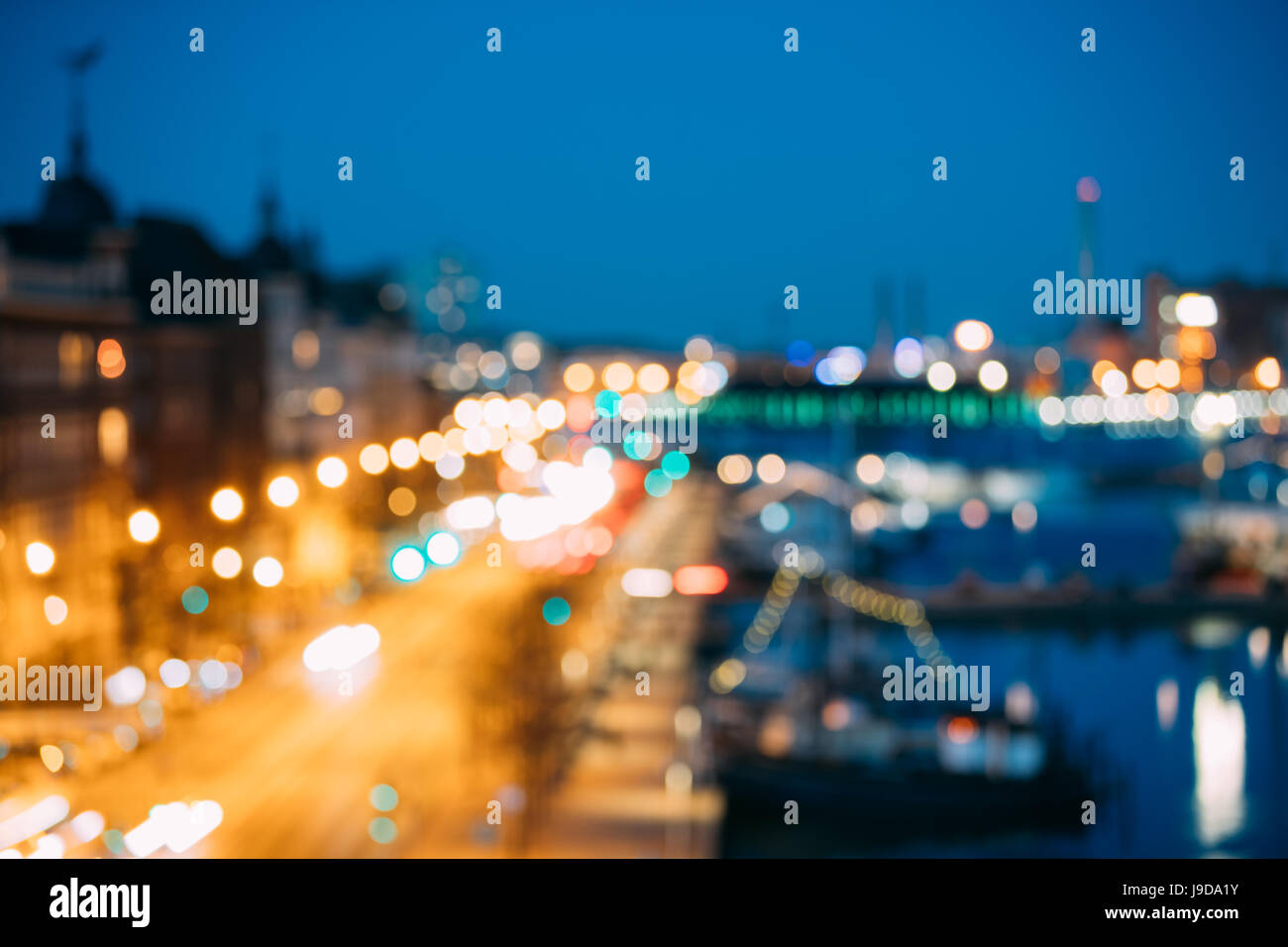 Abstract Blurred Bokeh Architectural Urban Backdrop Of Pohjoisranta Street, Helsinki, Finland. Real Blurred Colorful - Stock Image