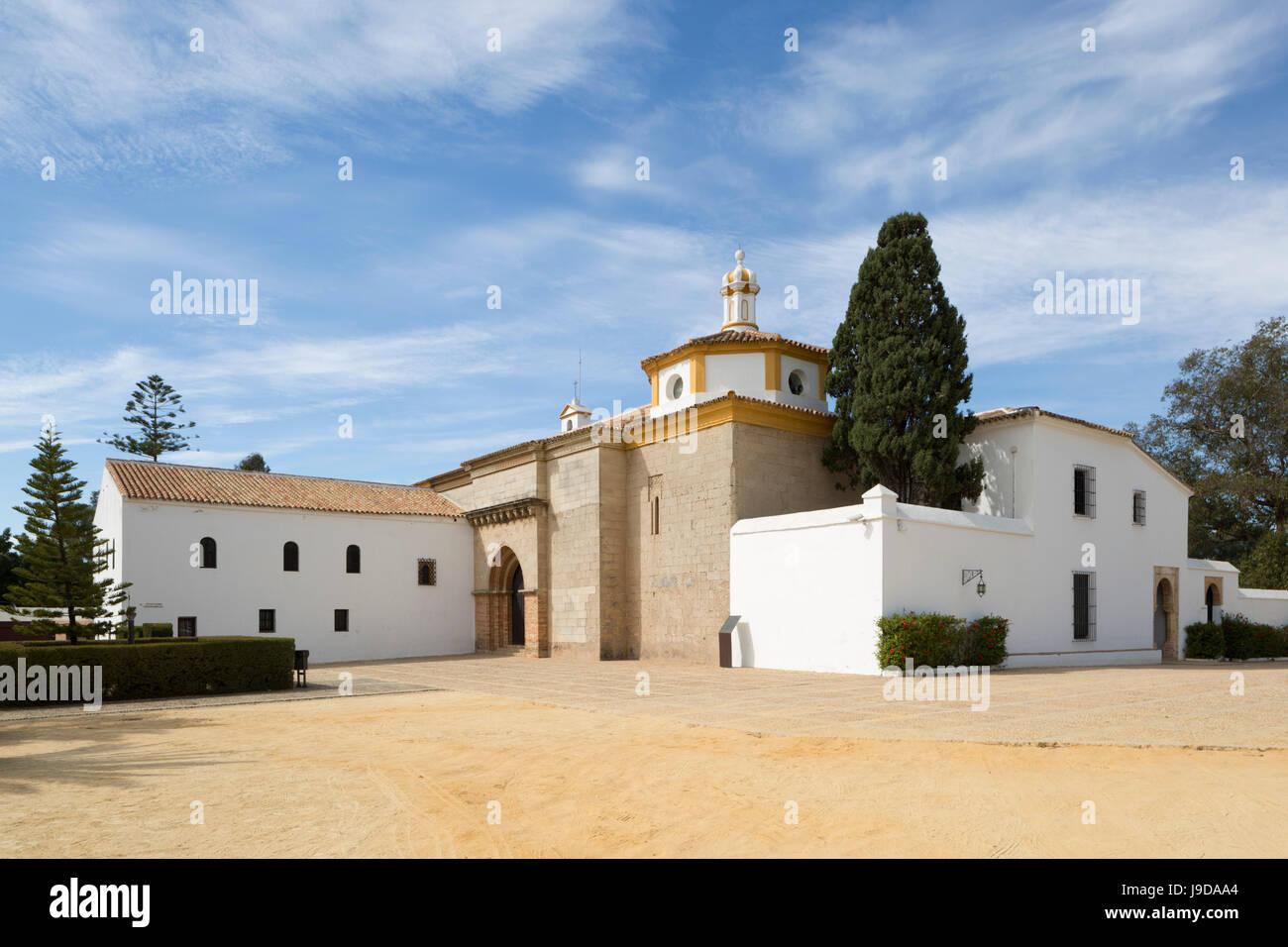 La Rabida Monastery where Columbus stayed before historic voyage of 1492, La Rabida, Huelva, Costa de la Luz, Andalucia, - Stock Image