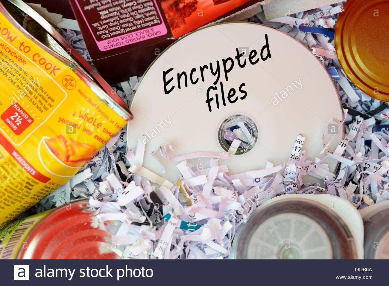 Encrypted files, data disc thrown in Bin, Dorset, England. - Stock Image