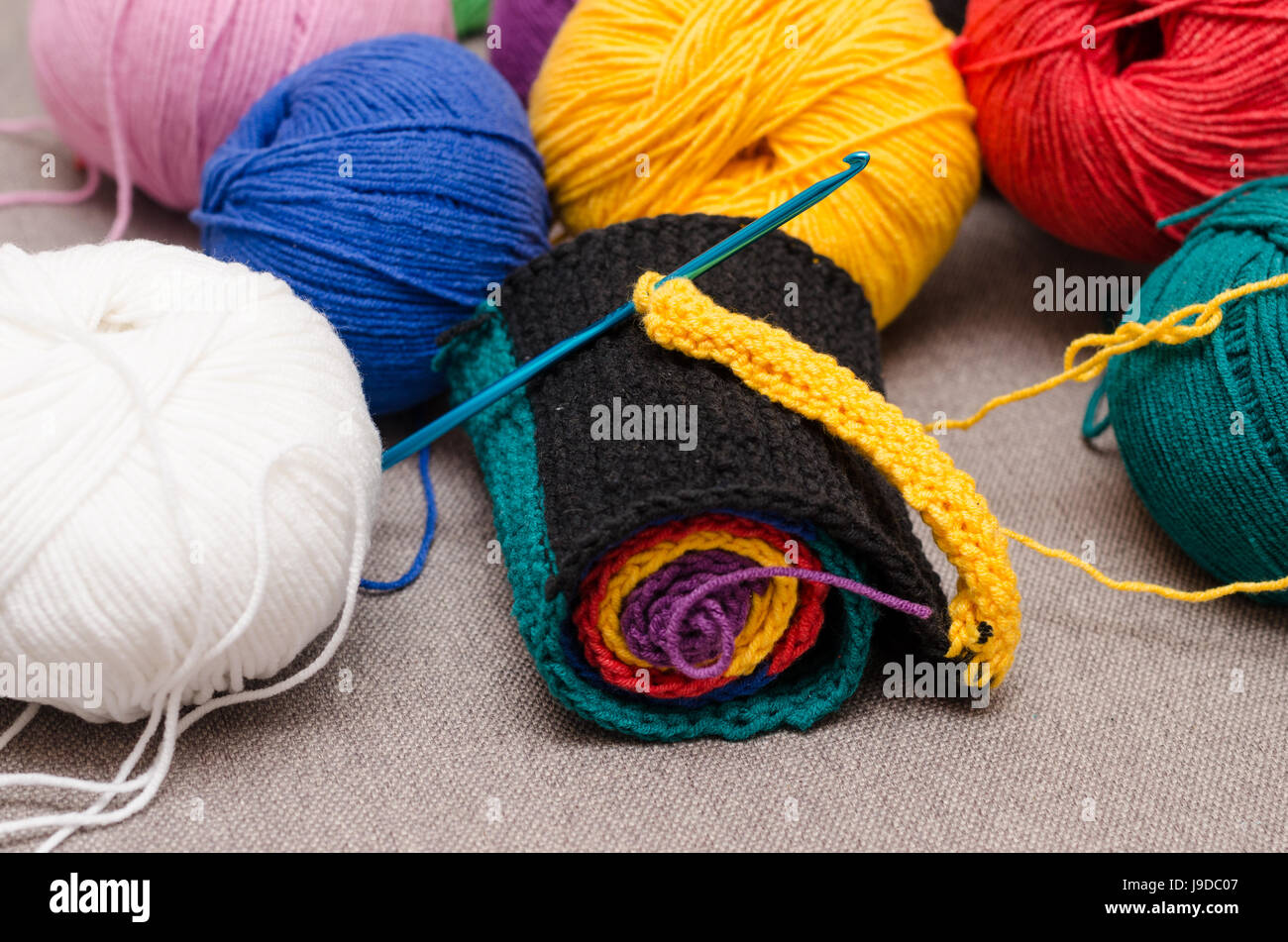 Colored balls of yarn. Rainbow colors. All colors. Yarn for knitting. Stock Photo