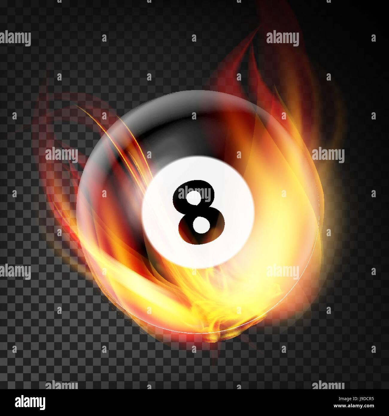 Billiard Ball In Fire Vector Realistic. Burning Billiard Ball. Transparent Background - Stock Vector