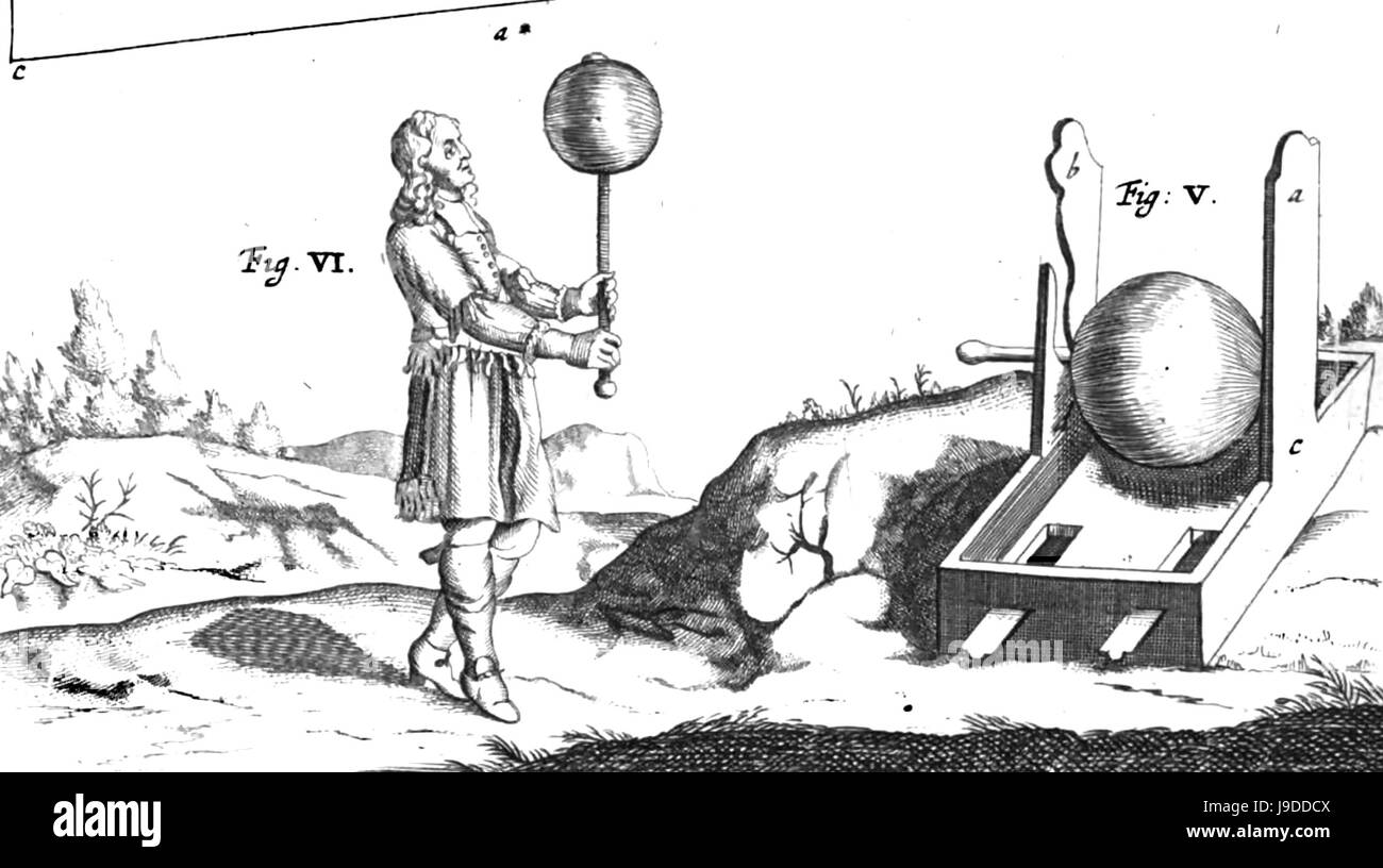 OTTO von GUERICKE (1602-1686) German politician and scientist, Engraving of his 1663 experiment with a sulphur globe - Stock Image