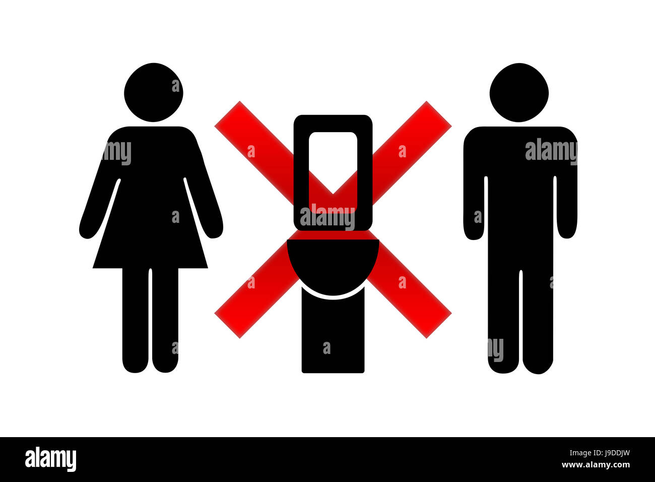 Illuminated sign of occupied toilet in the plane on a white background - Stock Image