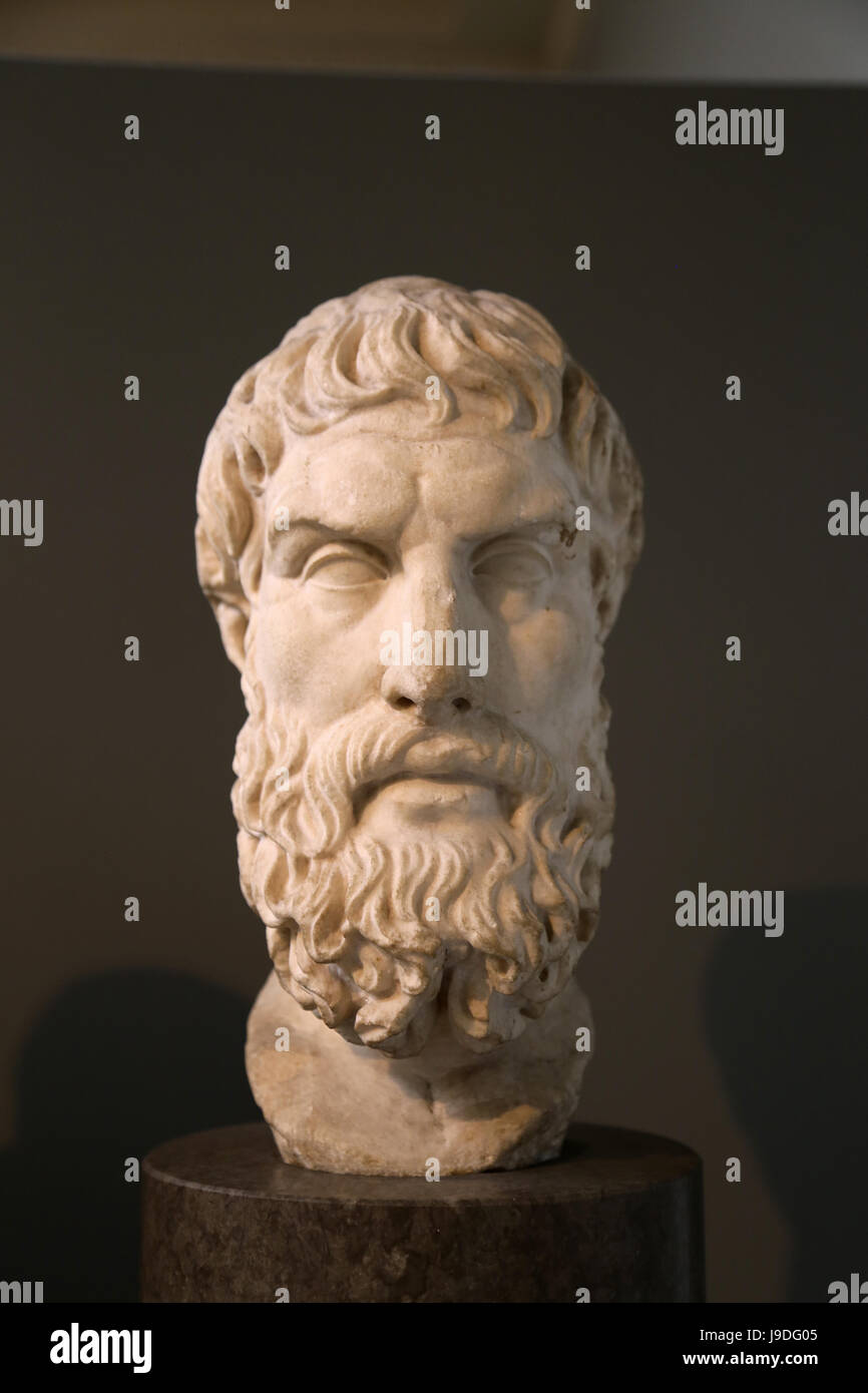 Epicurus (341-270 BC). Ancient Greek philosopher. Roman copy of a Greek original, 2nd c. BC. From Rome. British - Stock Image