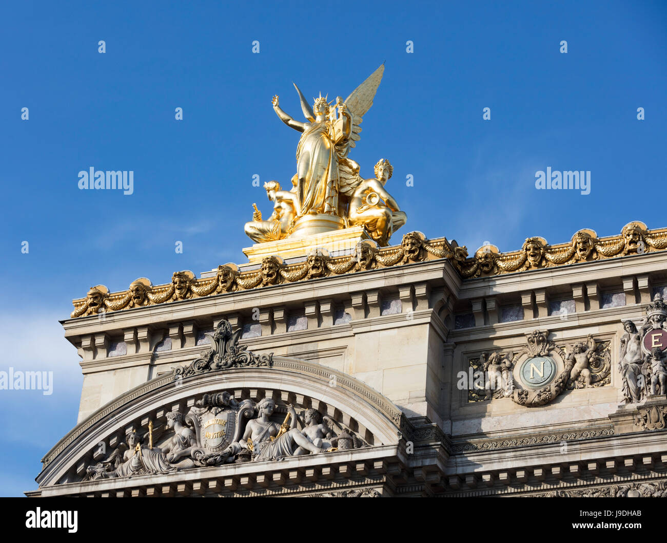 Gumery's statue of Harmony, Palais Garnier Opera House, Paris, France - Stock Image