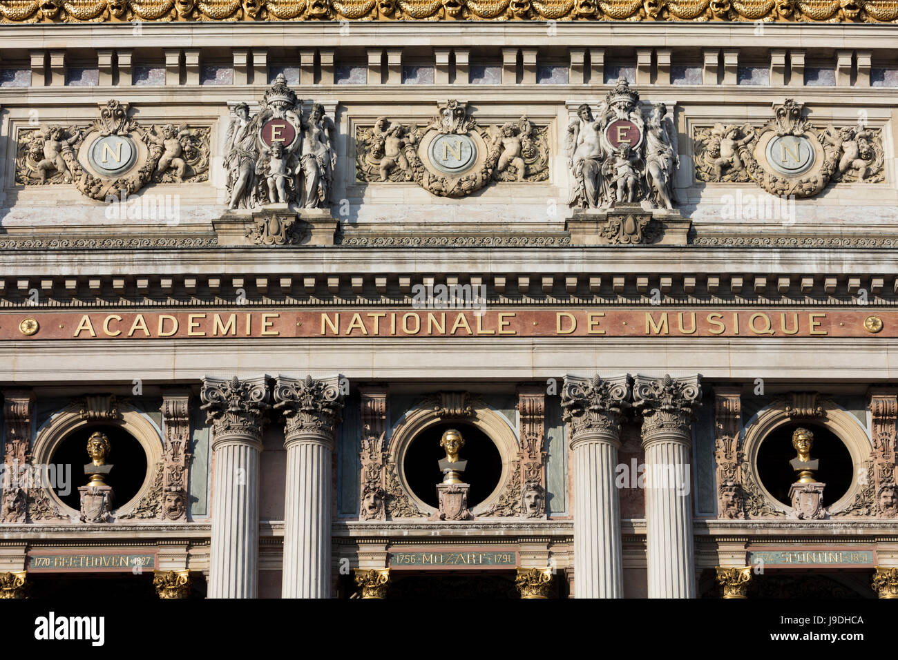 busts of Mozart, Beethoven and Spontini by Chabaud, facade, Palais Garnier Opera House, Paris, France - Stock Image