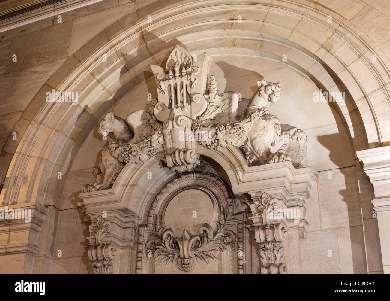 sculpture in interior, Palais Garnier Opera House, Paris, France - Stock Image