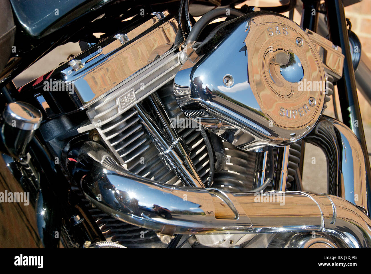 Detail of a custom built S & S chopper motorcycle Stock Photo