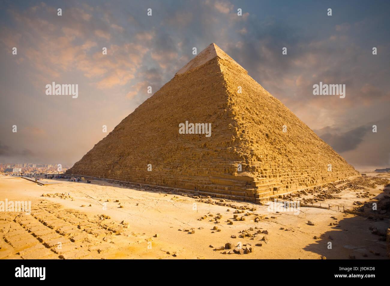 sunset, pyramid, cairo, egypt, fiery, firmament, sky, egyptian, close, Stock Photo