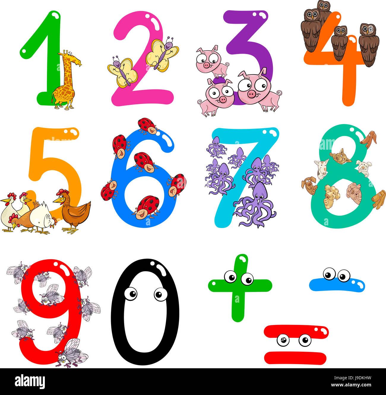 education, animals, illustration, mathematics, cartoon, child Stock ...