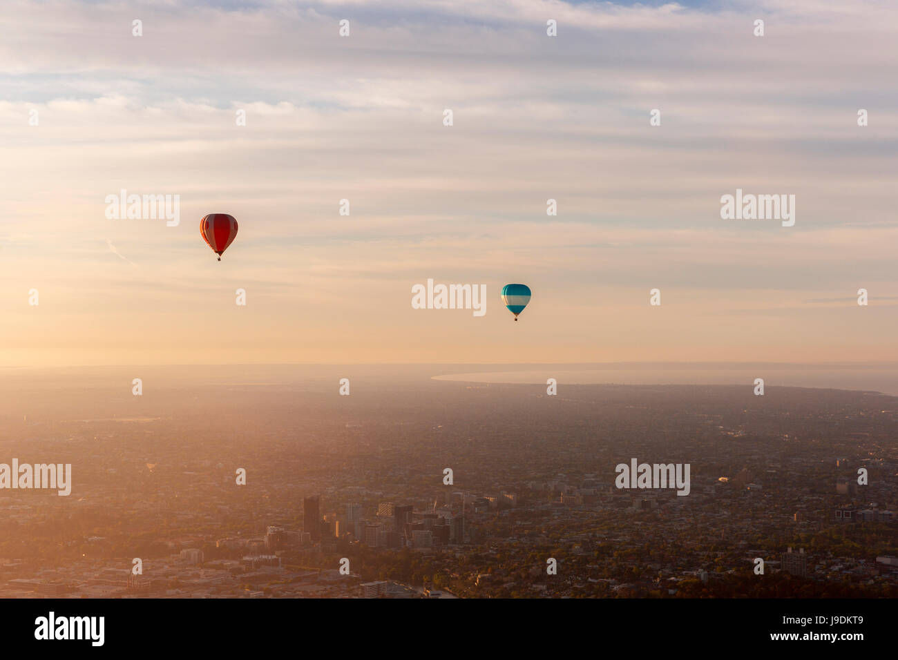 Hot air balloons in the sky. - Stock Image