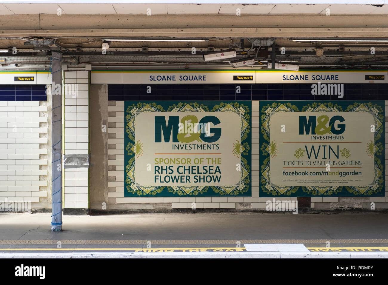M&G Investments posters at Sloane Square underground station in 2017, M&G are lead sponsors of the RHS Chelsea - Stock Image