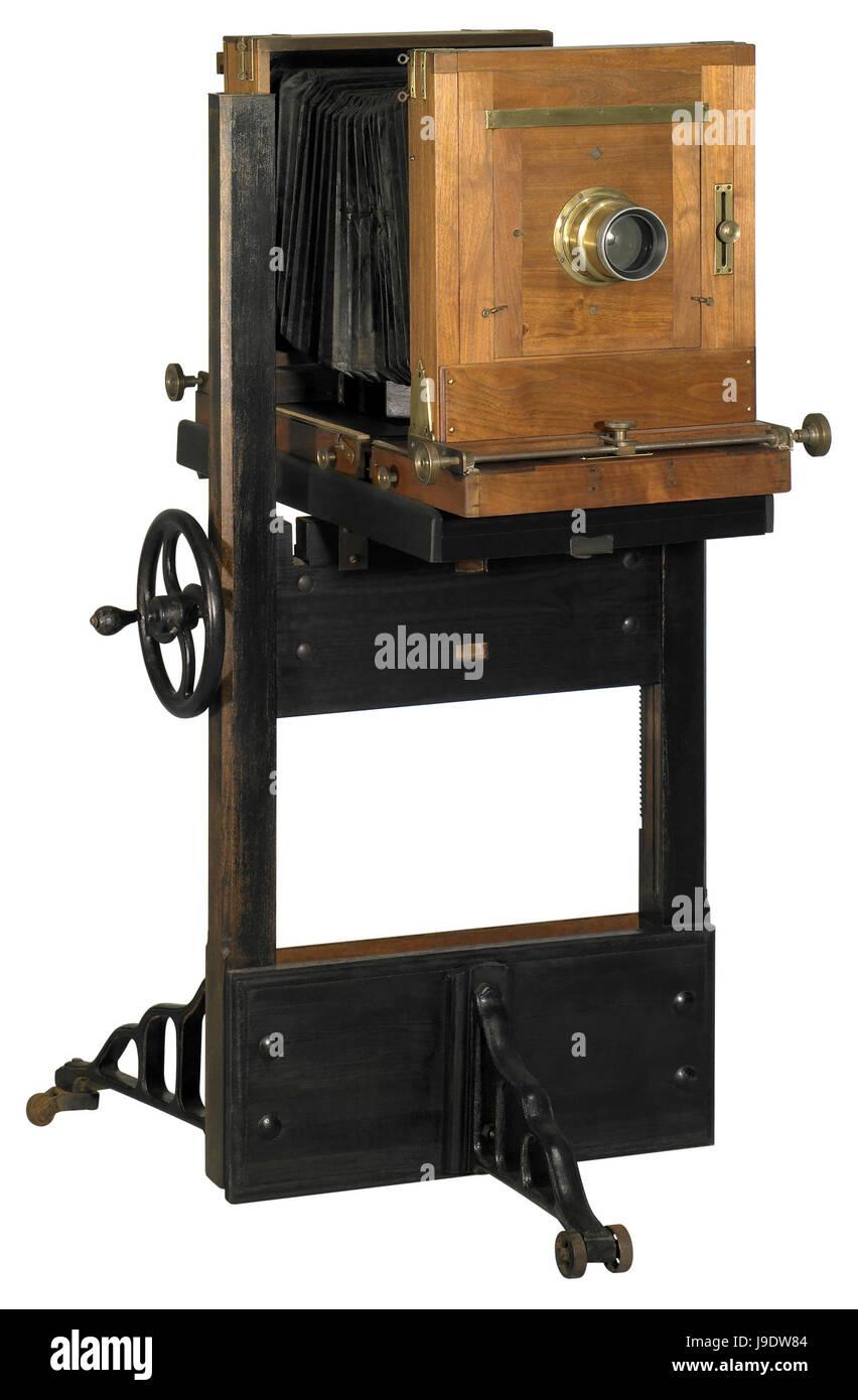 photo, camera, used, historical, wood, antique, nostalgia, time, photo, camera, - Stock Image