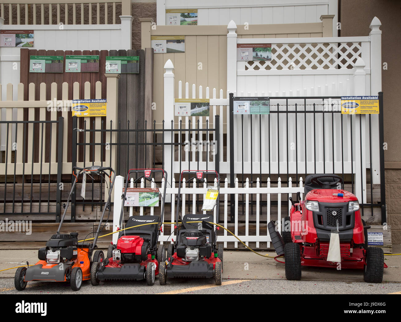 Variety of fences at a Lowe's home improvement store in Monroe, New York - Stock Image