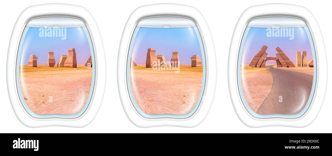 Porthole windows on Ras Mohammed - Stock Image