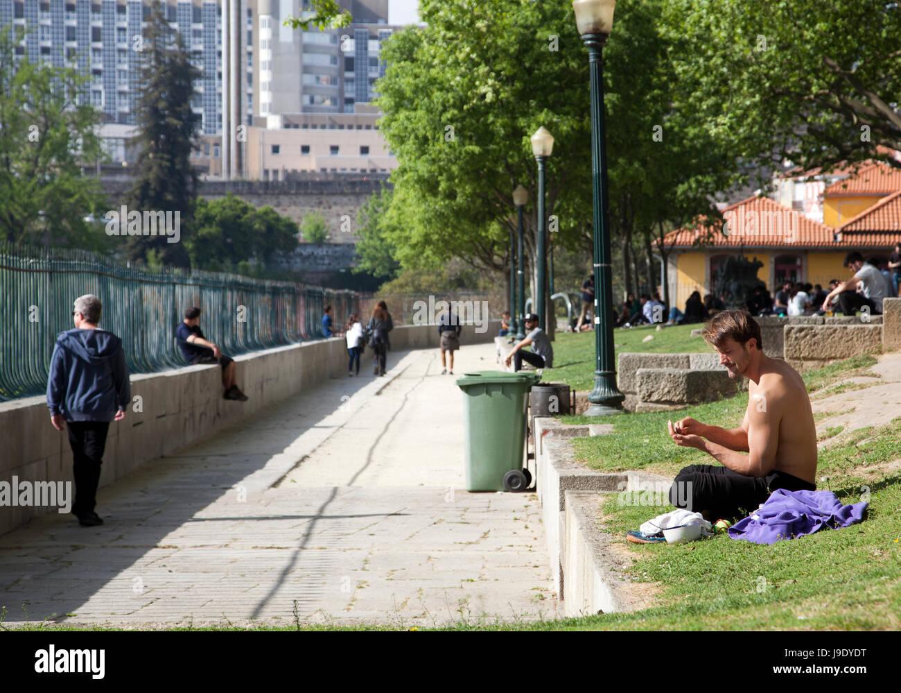 Passeio das Virtudes promenade with Views over Porto in Portugal - Stock Image