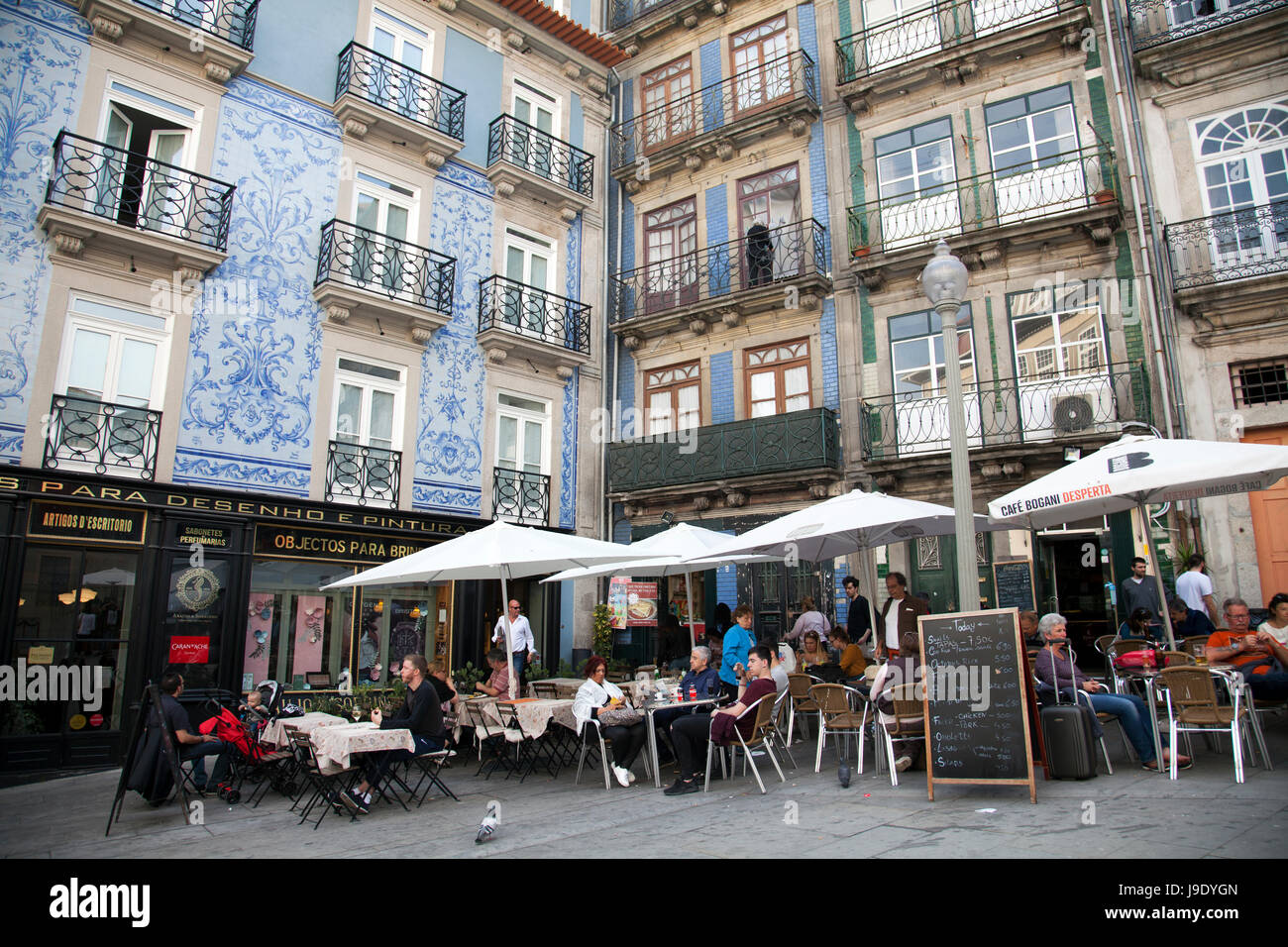 Largo São Domingos with Cafes and Restaurants in Porto - Portugal - Stock Image