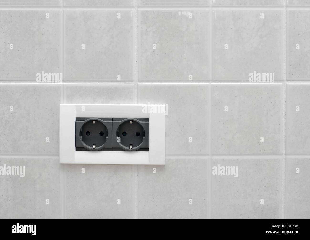 wall, electric, outlet, socket, tile, double, white, plug, house ...