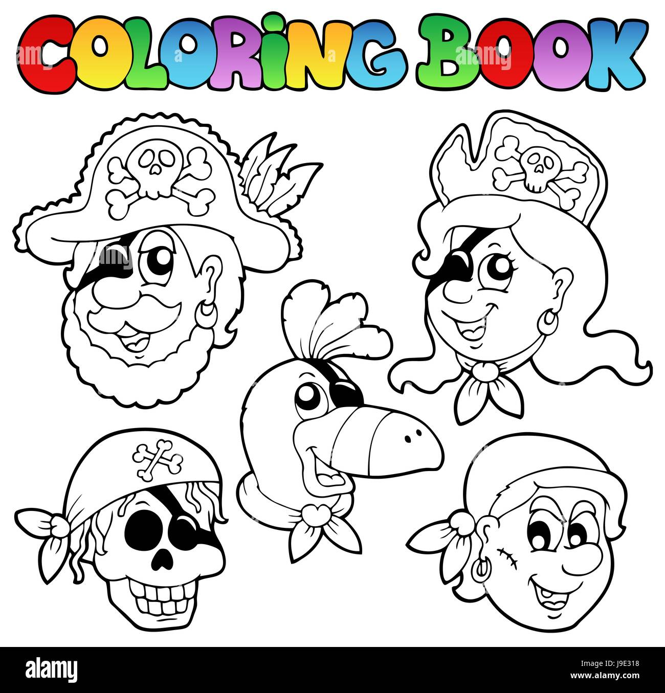Colour Topic Paint Painted Pirate Colouring Book Woman Stock