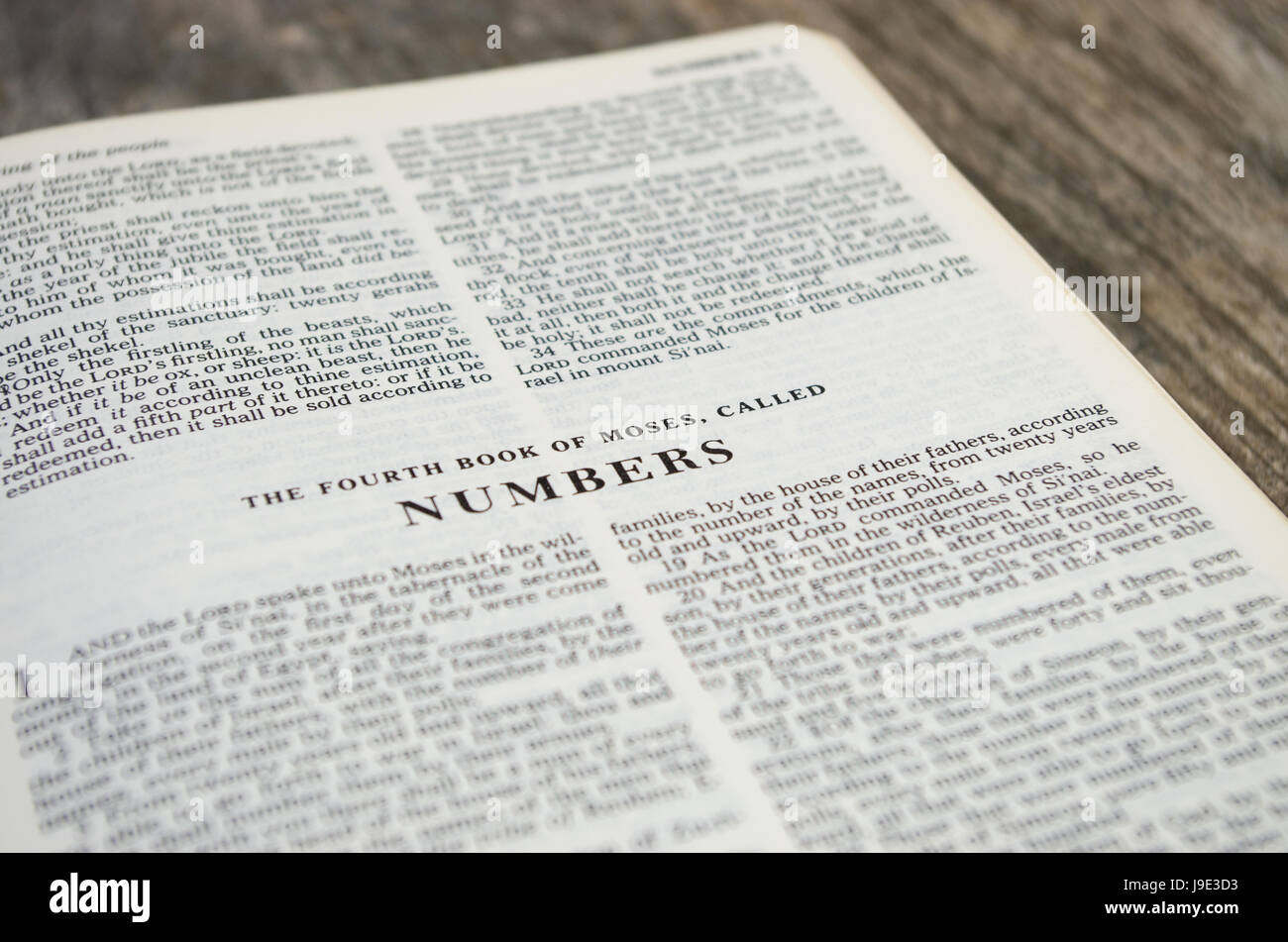 Title page for the book of Numbers in the Bible – King James Version - Stock Image