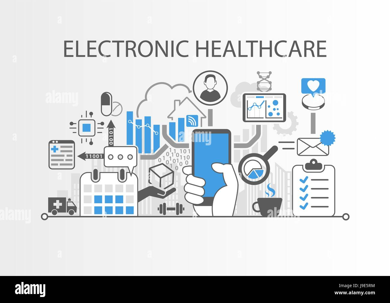 Electronic healthcare or e-health background vector illustration - Stock Image