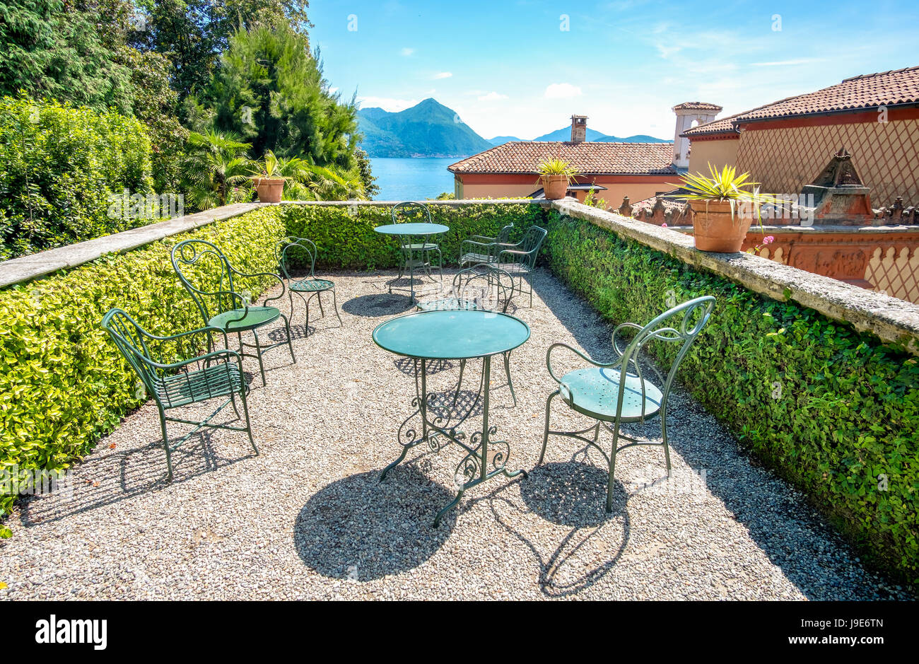rooftop terrace over lake maggiore balcony - Stock Image