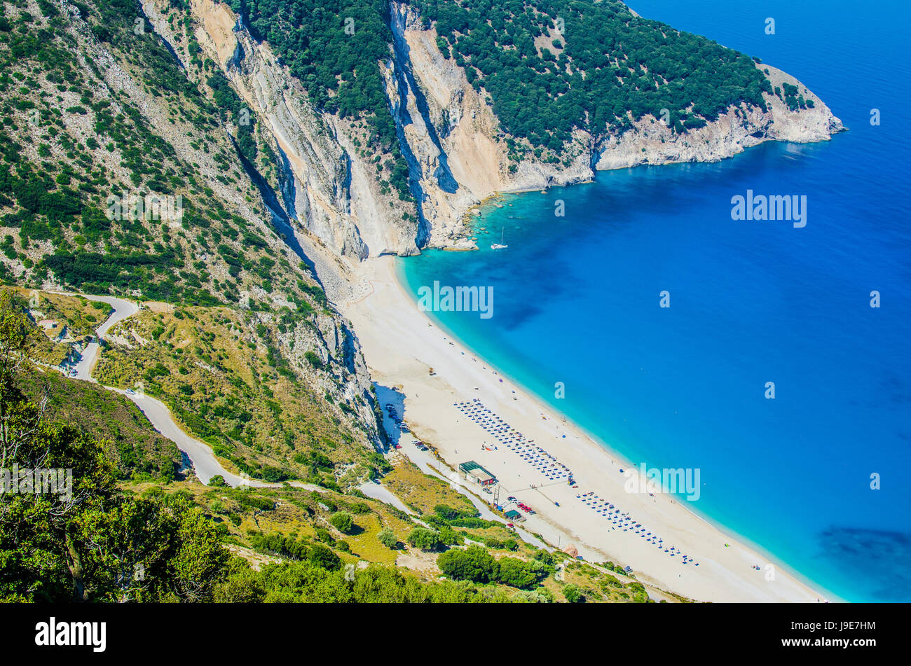 Aerial View of beautiful Myrtos Bay and Beach on Kefalonia Island, Greece - Stock Image