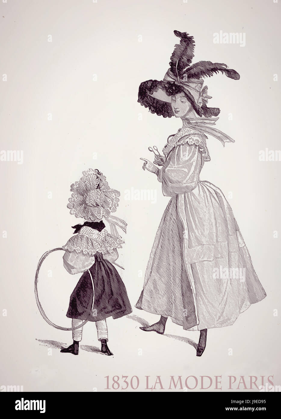 Paris 1830 ladies fashion outdoors, young lady and little daughter with fancy dress, laces and frills ready for - Stock Image