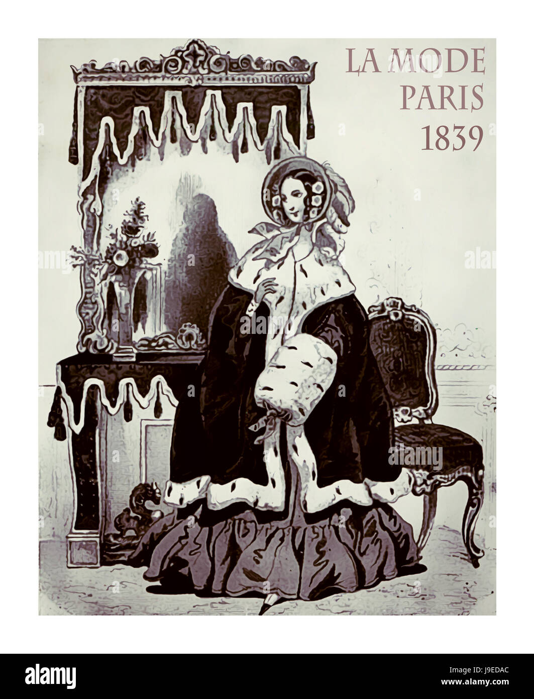Paris 1839 fashion, young lady fancy dressed with cloak, ermine fur and muffl ready to go outside, vintage illustration - Stock Image
