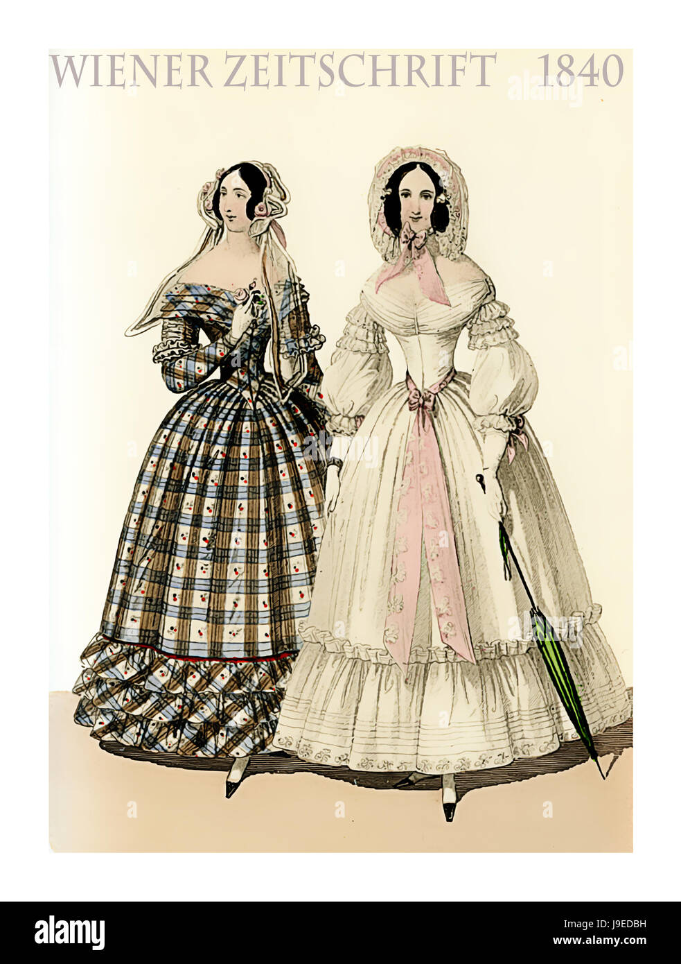 Vienna 1840 fashion, two young ladies fancy dressed with hats and parasol ready to go outside, vintage illustration - Stock Image