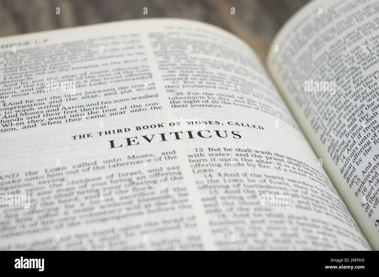 Title page for the book of Leviticus in the Bible – King James Version - Stock Image