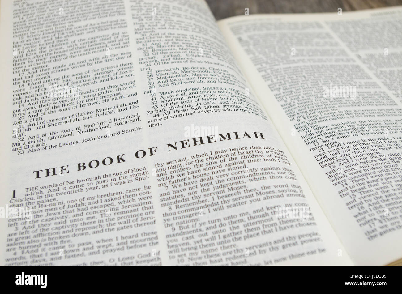 Title page for the book of Nehemiah in the Bible – King James Version - Stock Image