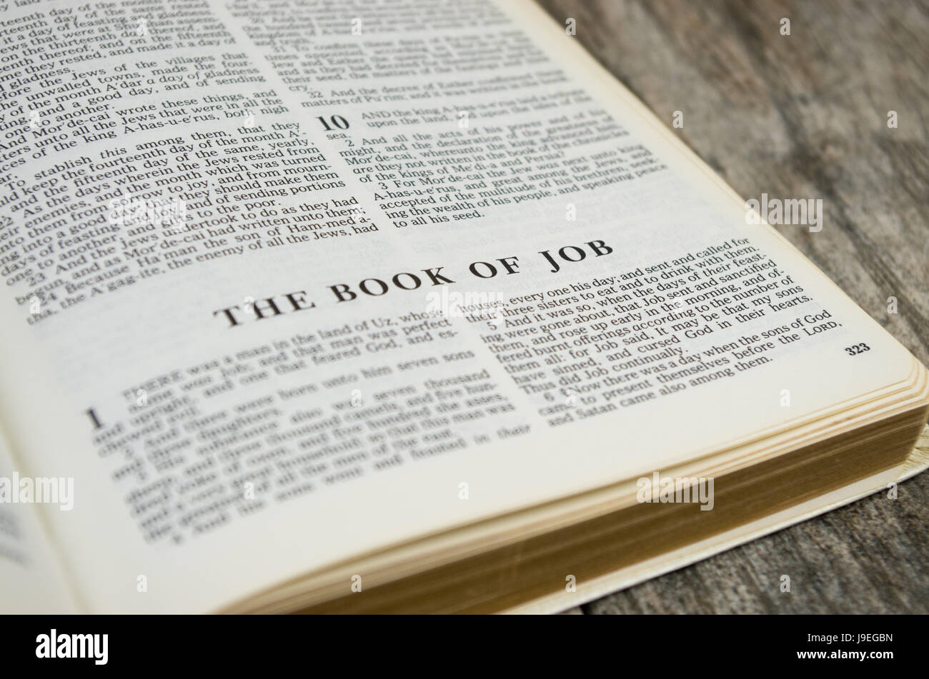 Title page for the book of Job in the Bible – King James Version - Stock Image
